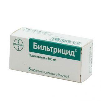 Бильтрицид таблетки 600 мг, 6 шт.