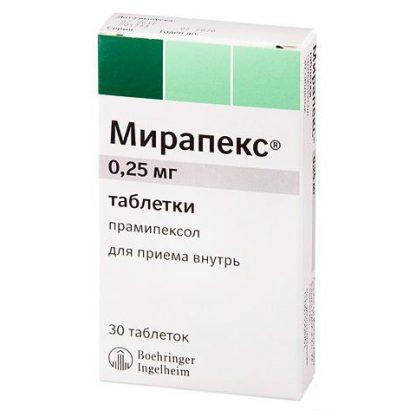 Мирапекс таблетки 0.25 мг, 30 шт.